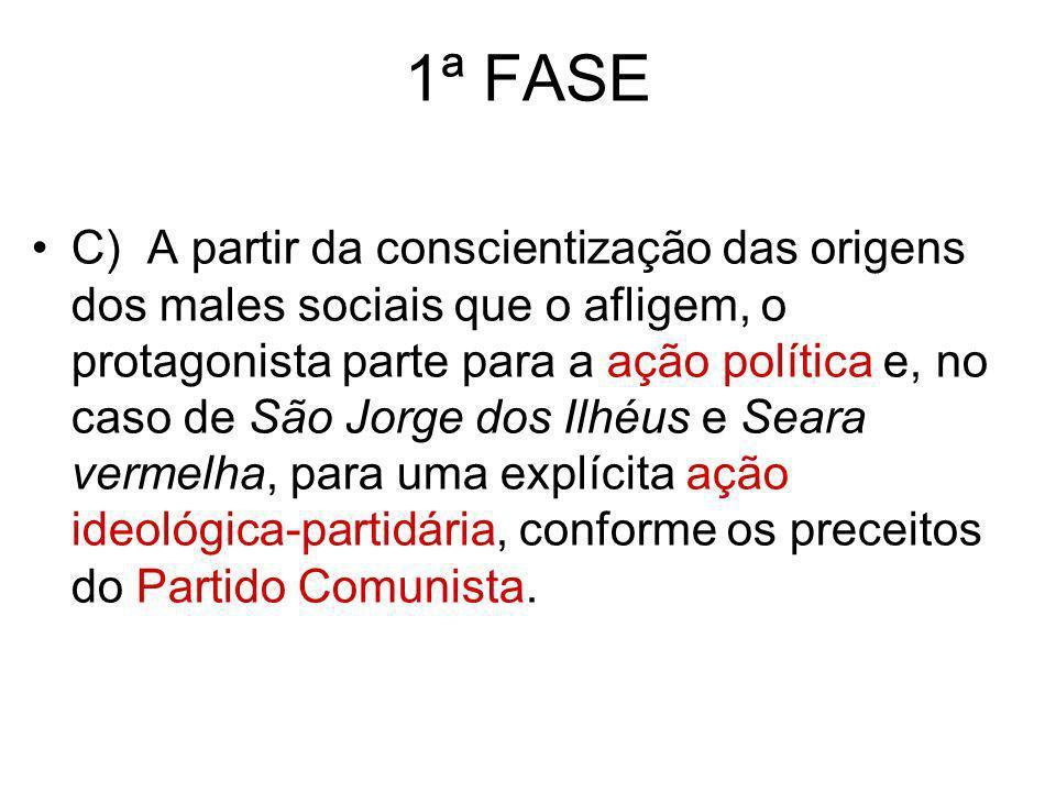 1ª FASE C) A partir da conscientização das origens dos males sociais que o afligem, o protagonista parte para a ação política e, no caso de São Jorge