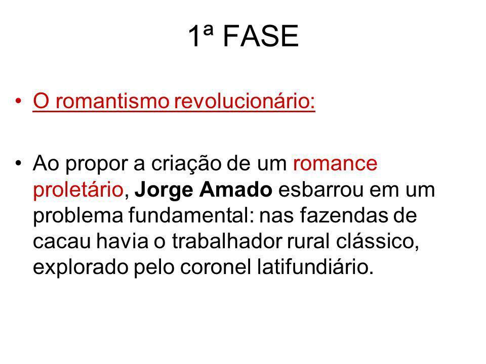 1ª FASE O romantismo revolucionário: Ao propor a criação de um romance proletário, Jorge Amado esbarrou em um problema fundamental: nas fazendas de ca