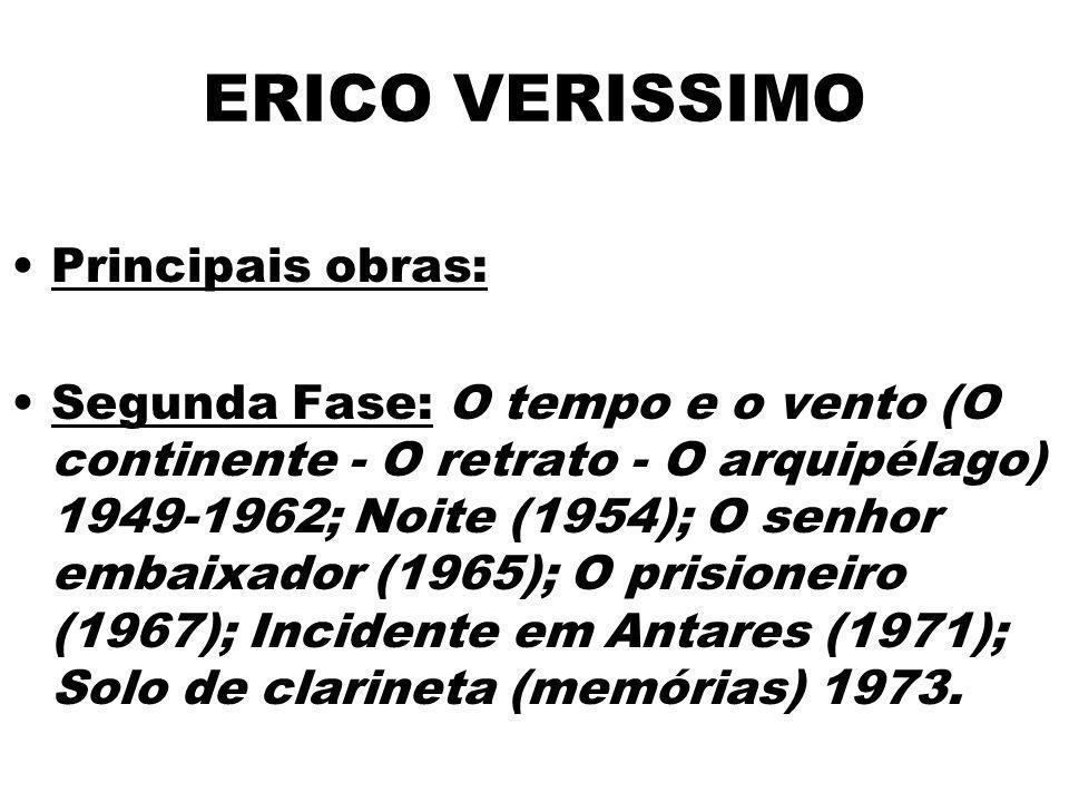 ERICO VERISSIMO Principais obras: Segunda Fase: O tempo e o vento (O continente - O retrato - O arquipélago) 1949-1962; Noite (1954); O senhor embaixa