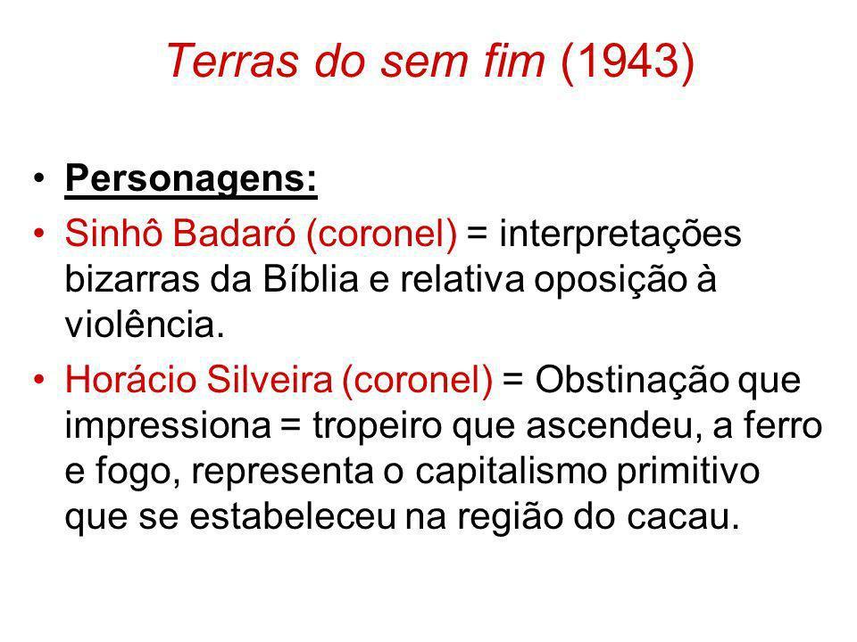 Terras do sem fim (1943) Personagens: Sinhô Badaró (coronel) = interpretações bizarras da Bíblia e relativa oposição à violência. Horácio Silveira (co