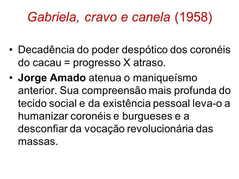 Gabriela, cravo e canela (1958) Decadência do poder despótico dos coronéis do cacau = progresso X atraso. Jorge Amado atenua o maniqueísmo anterior. S