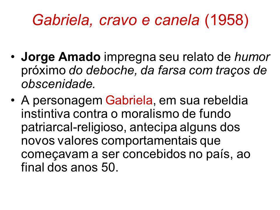 Gabriela, cravo e canela (1958) Jorge Amado impregna seu relato de humor próximo do deboche, da farsa com traços de obscenidade. A personagem Gabriela