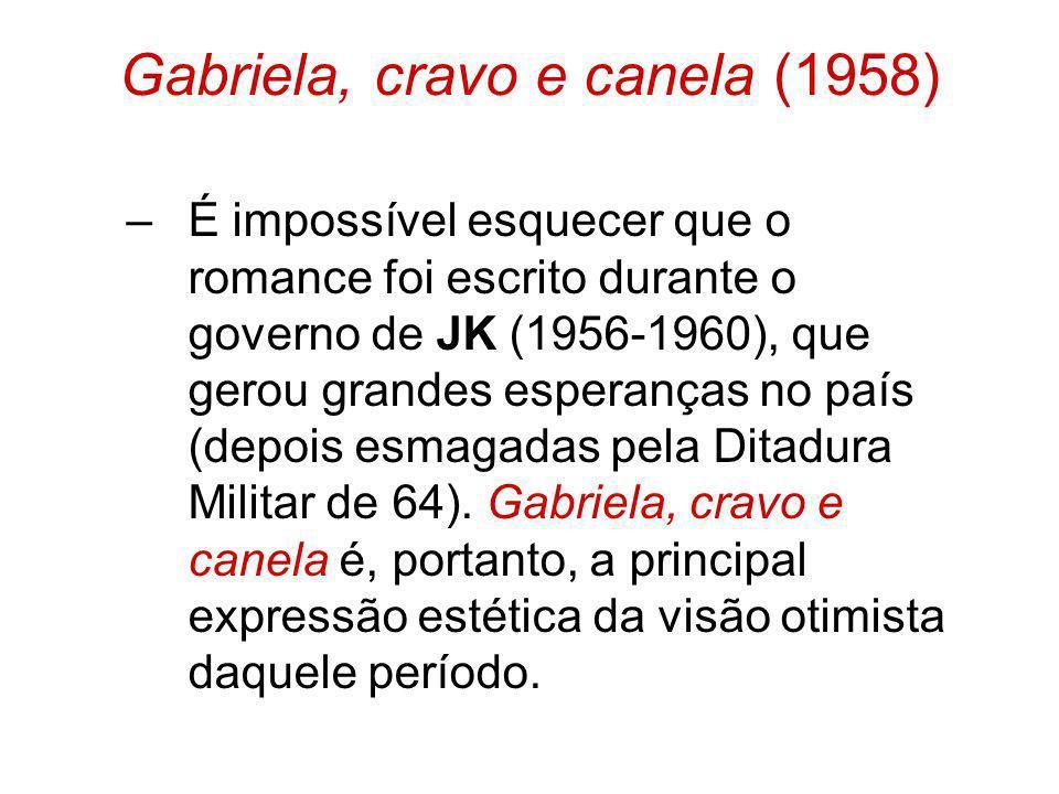 Gabriela, cravo e canela (1958) –É impossível esquecer que o romance foi escrito durante o governo de JK (1956-1960), que gerou grandes esperanças no