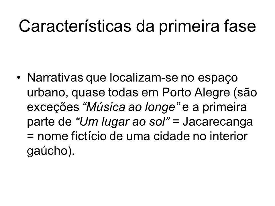 Características da primeira fase Narrativas que localizam-se no espaço urbano, quase todas em Porto Alegre (são exceções Música ao longe e a primeira