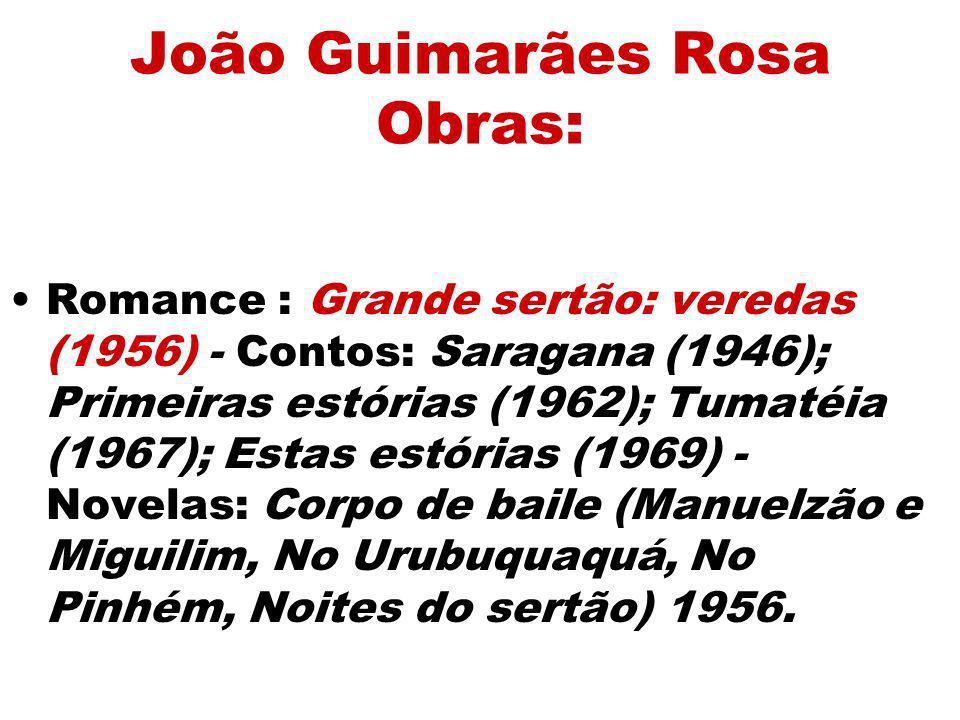 João Guimarães Rosa Obras: Romance : Grande sertão: veredas (1956) - Contos: Saragana (1946); Primeiras estórias (1962); Tumatéia (1967); Estas estóri
