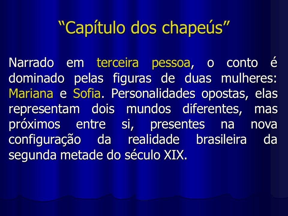 Capítulo dos chapeús Narrado em terceira pessoa, o conto é dominado pelas figuras de duas mulheres: Mariana e Sofia. Personalidades opostas, elas repr