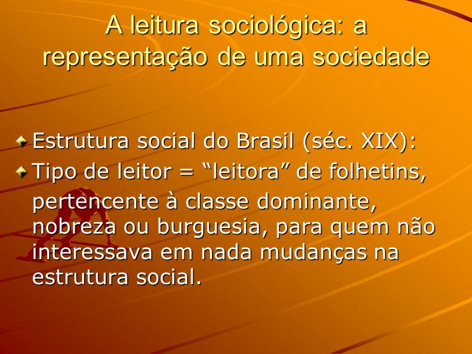 A leitura sociológica: a representação de uma sociedade Estrutura social do Brasil (séc.