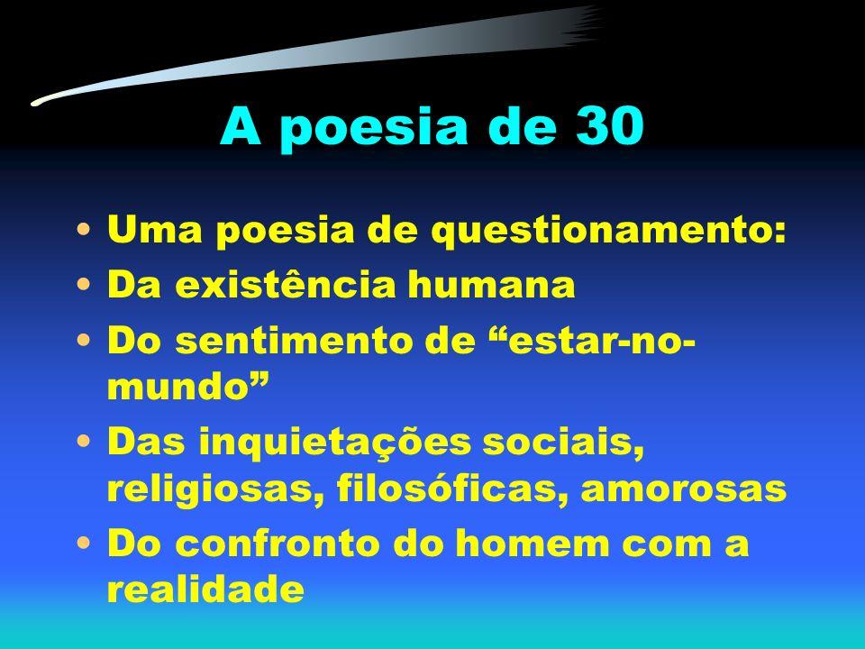 Uma poesia de questionamento: Da existência humana Do sentimento de estar-no- mundo Das inquietações sociais, religiosas, filosóficas, amorosas Do con