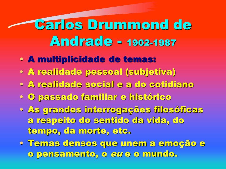 Carlos Drummond de Andrade - 1902-1987 A multiplicidade de temas:A multiplicidade de temas: A realidade pessoal (subjetiva)A realidade pessoal (subjet