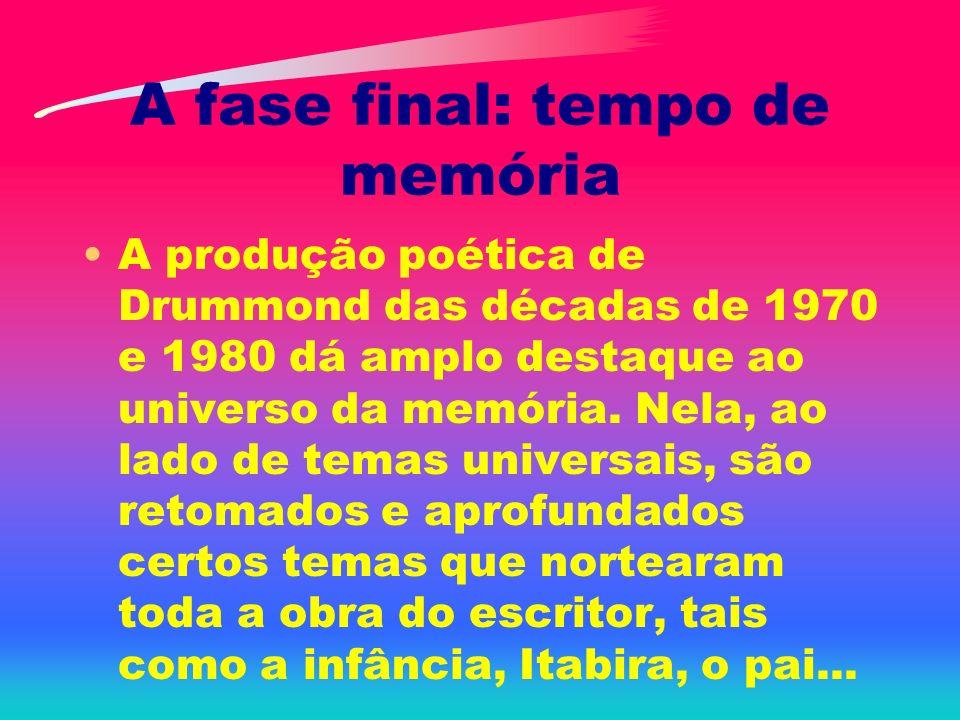 A fase final: tempo de memória A produção poética de Drummond das décadas de 1970 e 1980 dá amplo destaque ao universo da memória. Nela, ao lado de te
