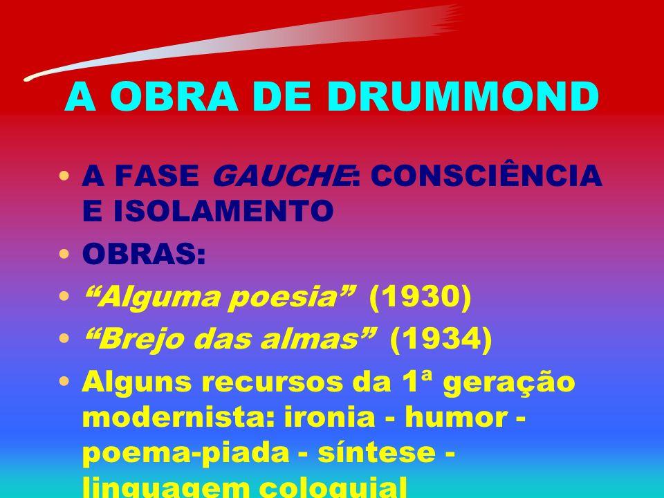 A OBRA DE DRUMMOND A FASE GAUCHE: CONSCIÊNCIA E ISOLAMENTO OBRAS: Alguma poesia (1930) Brejo das almas (1934) Alguns recursos da 1ª geração modernista
