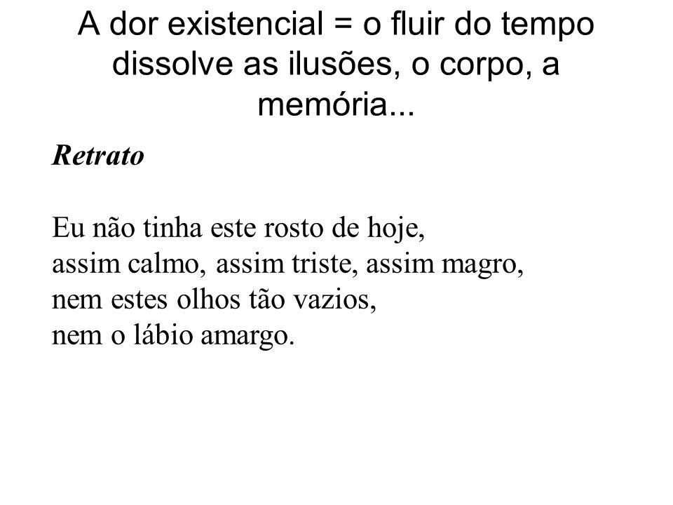 A dor existencial = o fluir do tempo dissolve as ilusões, o corpo, a memória...