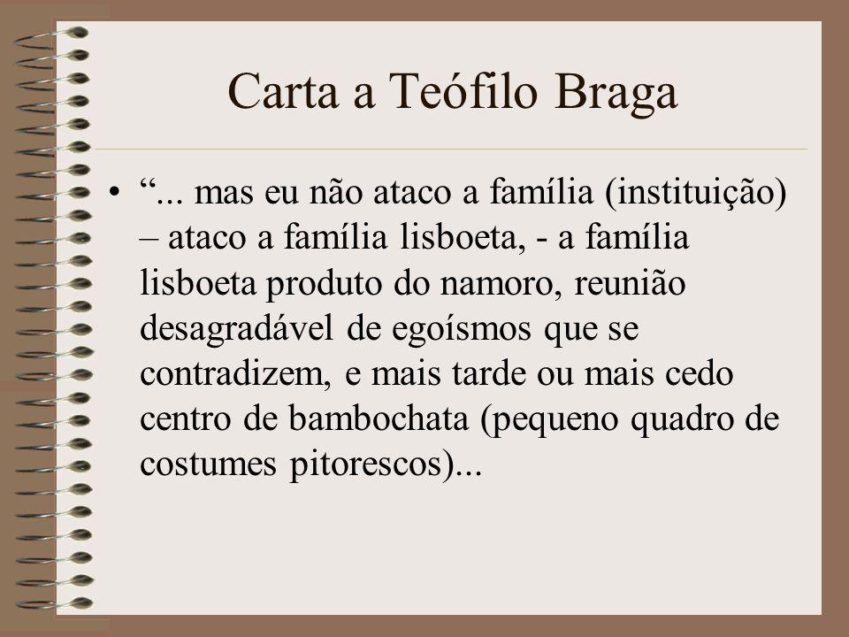Carta a Teófilo Braga... mas eu não ataco a família (instituição) – ataco a família lisboeta, - a família lisboeta produto do namoro, reunião desagrad
