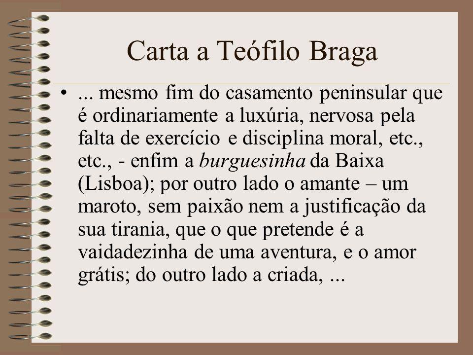 Carta a Teófilo Braga... mesmo fim do casamento peninsular que é ordinariamente a luxúria, nervosa pela falta de exercício e disciplina moral, etc., e