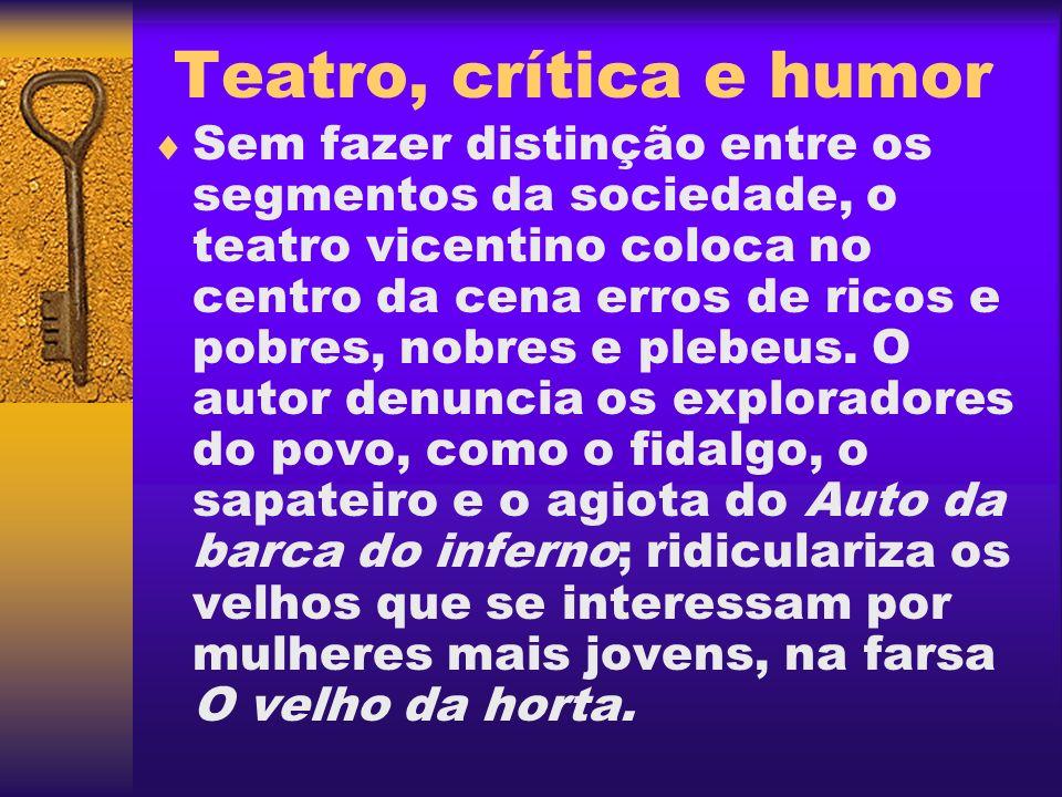 Teatro, crítica e humor Sem fazer distinção entre os segmentos da sociedade, o teatro vicentino coloca no centro da cena erros de ricos e pobres, nobr