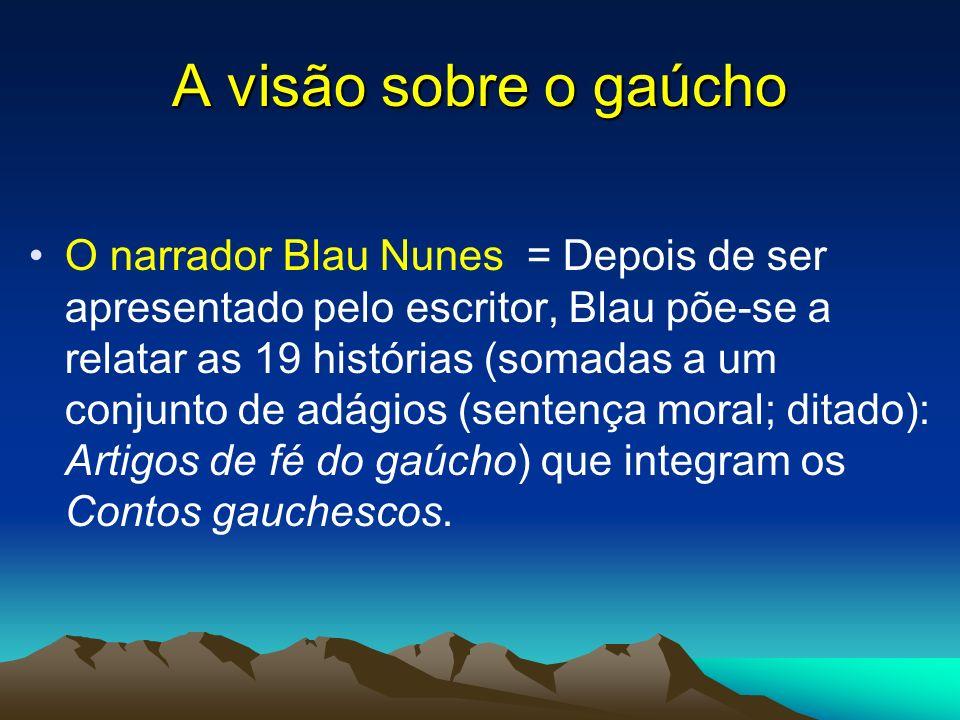 A visão sobre o gaúcho O narrador Blau Nunes = Depois de ser apresentado pelo escritor, Blau põe-se a relatar as 19 histórias (somadas a um conjunto d