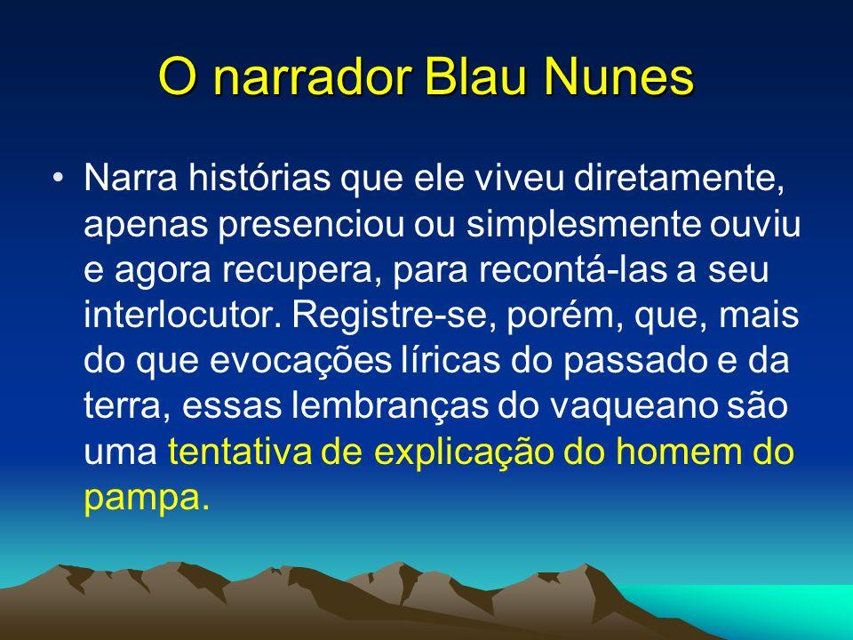 O narrador Blau Nunes Narra histórias que ele viveu diretamente, apenas presenciou ou simplesmente ouviu e agora recupera, para recontá-las a seu inte