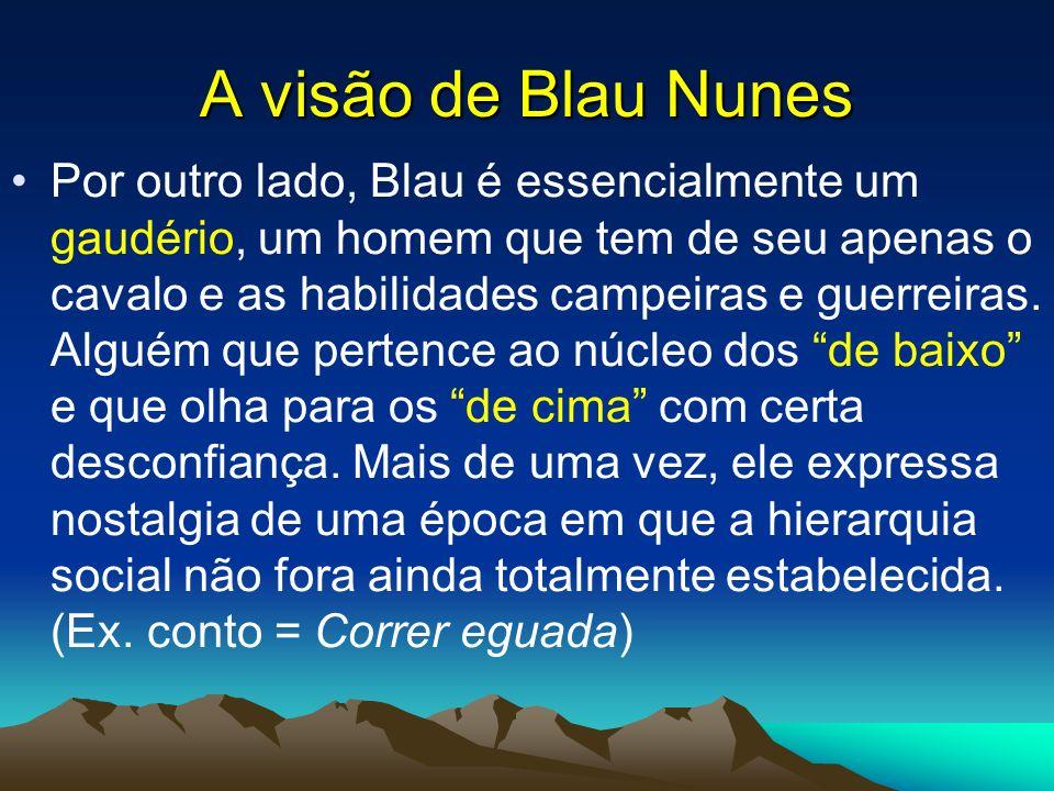 A visão de Blau Nunes Por outro lado, Blau é essencialmente um gaudério, um homem que tem de seu apenas o cavalo e as habilidades campeiras e guerreir
