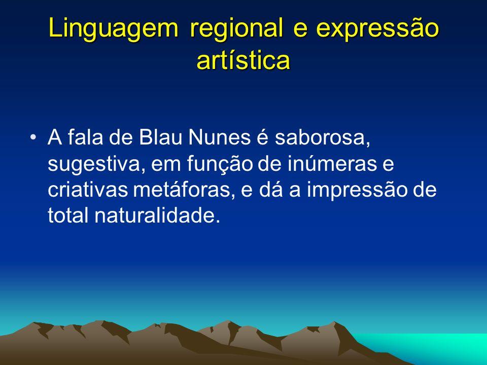 Linguagem regional e expressão artística A fala de Blau Nunes é saborosa, sugestiva, em função de inúmeras e criativas metáforas, e dá a impressão de