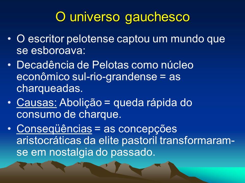 O universo gauchesco Todos os relatos de Simões Lopes Neto transcorrem no passado, abrangendo um período histórico que se inicia depois da Independência e alcança o início do século XIX.