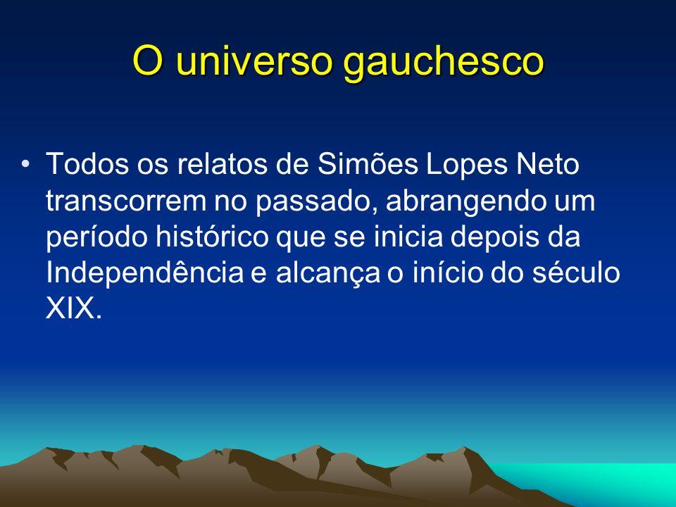 O universo gauchesco Todos os relatos de Simões Lopes Neto transcorrem no passado, abrangendo um período histórico que se inicia depois da Independênc