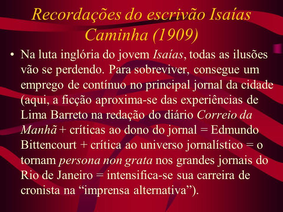 Recordações do escrivão Isaías Caminha (1909) Na luta inglória do jovem Isaías, todas as ilusões vão se perdendo. Para sobreviver, consegue um emprego