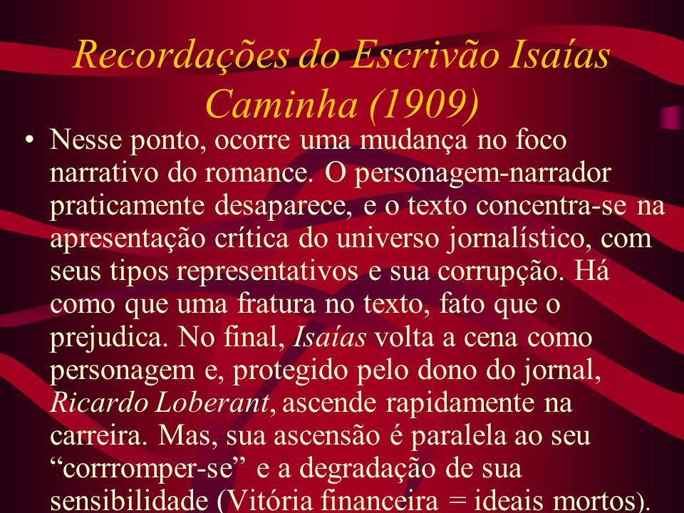 Recordações do Escrivão Isaías Caminha (1909) Nesse ponto, ocorre uma mudança no foco narrativo do romance. O personagem-narrador praticamente desapar