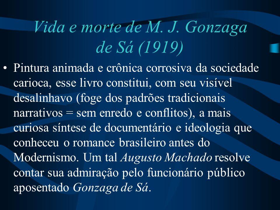 Vida e morte de M. J. Gonzaga de Sá (1919) Pintura animada e crônica corrosiva da sociedade carioca, esse livro constitui, com seu visível desalinhavo