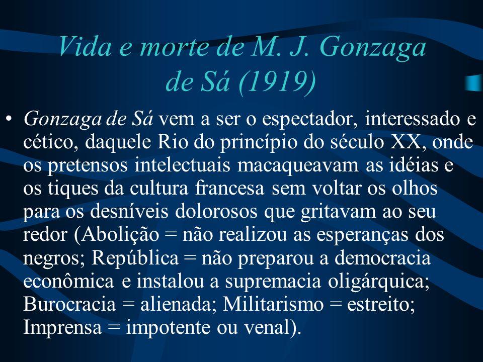 Vida e morte de M. J. Gonzaga de Sá (1919) Gonzaga de Sá vem a ser o espectador, interessado e cético, daquele Rio do princípio do século XX, onde os