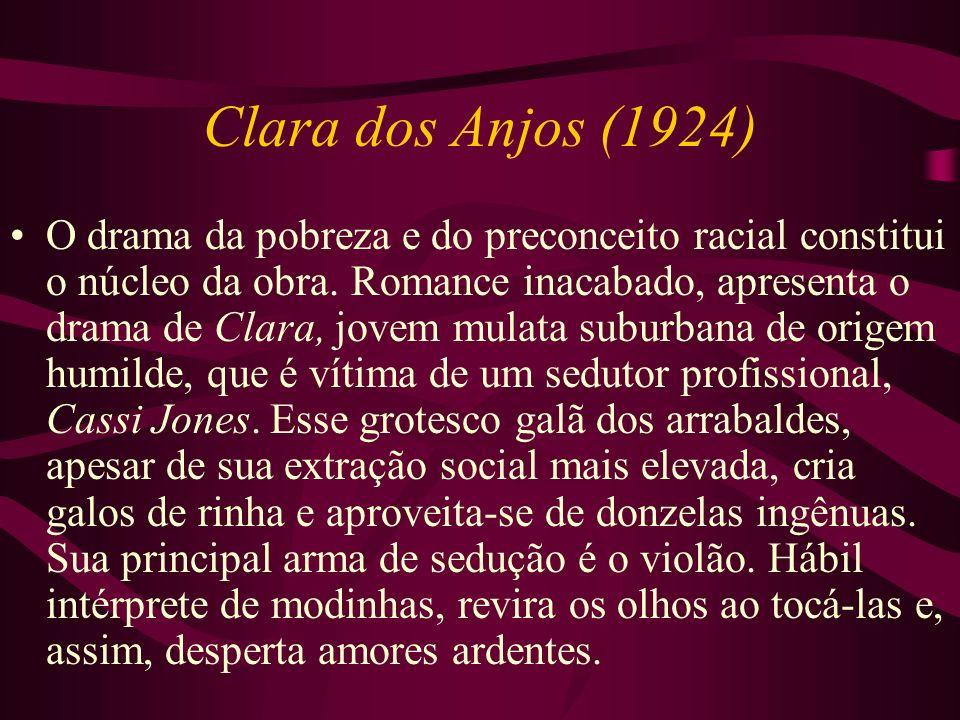 Clara dos Anjos (1924) O drama da pobreza e do preconceito racial constitui o núcleo da obra. Romance inacabado, apresenta o drama de Clara, jovem mul