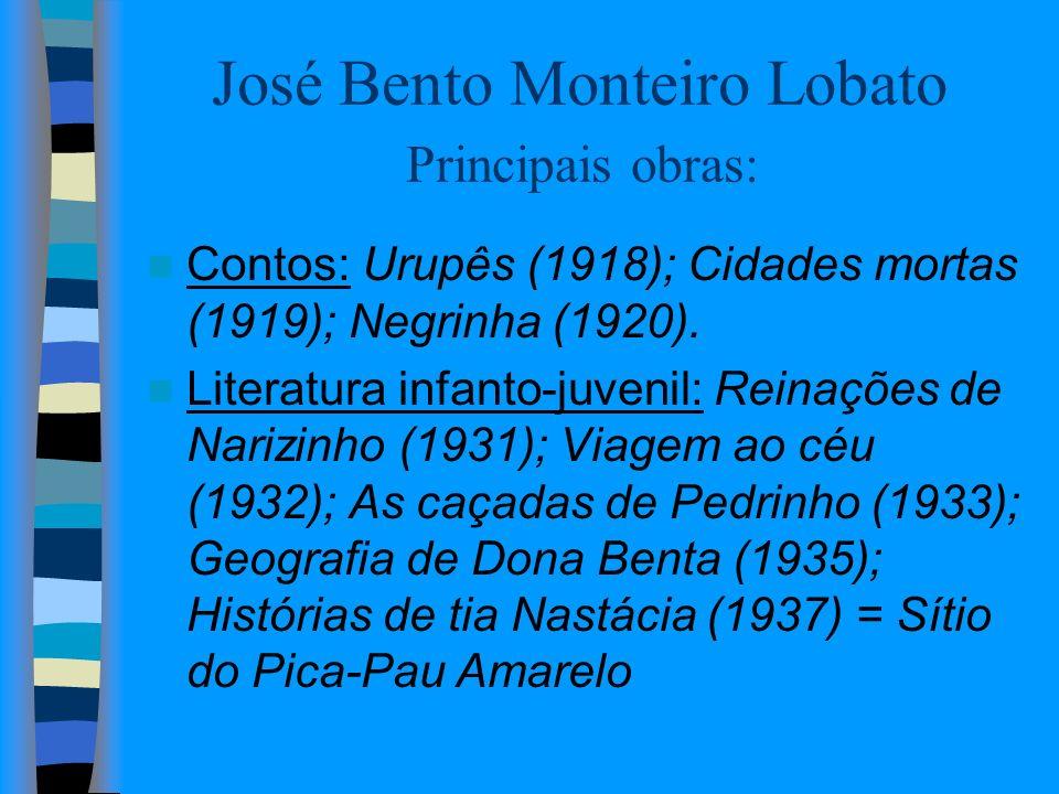 José Bento Monteiro Lobato Principais obras: Contos: Urupês (1918); Cidades mortas (1919); Negrinha (1920). Literatura infanto-juvenil: Reinações de N