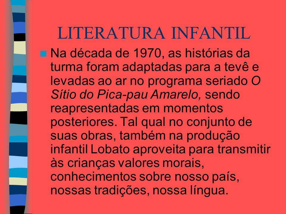 LITERATURA INFANTIL Na década de 1970, as histórias da turma foram adaptadas para a tevê e levadas ao ar no programa seriado O Sítio do Pica-pau Amare