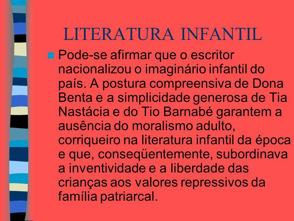 LITERATURA INFANTIL Pode-se afirmar que o escritor nacionalizou o imaginário infantil do país. A postura compreensiva de Dona Benta e a simplicidade g