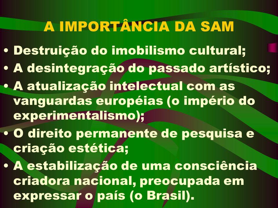 A IMPORTÂNCIA DA SAM Destruição do imobilismo cultural; A desintegração do passado artístico; A atualização intelectual com as vanguardas européias (o