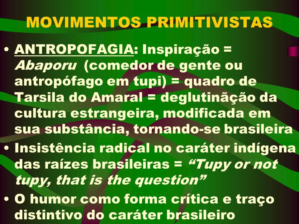 MOVIMENTOS PRIMITIVISTAS ANTROPOFAGIA: Inspiração = Abaporu (comedor de gente ou antropófago em tupi) = quadro de Tarsila do Amaral = deglutinãção da