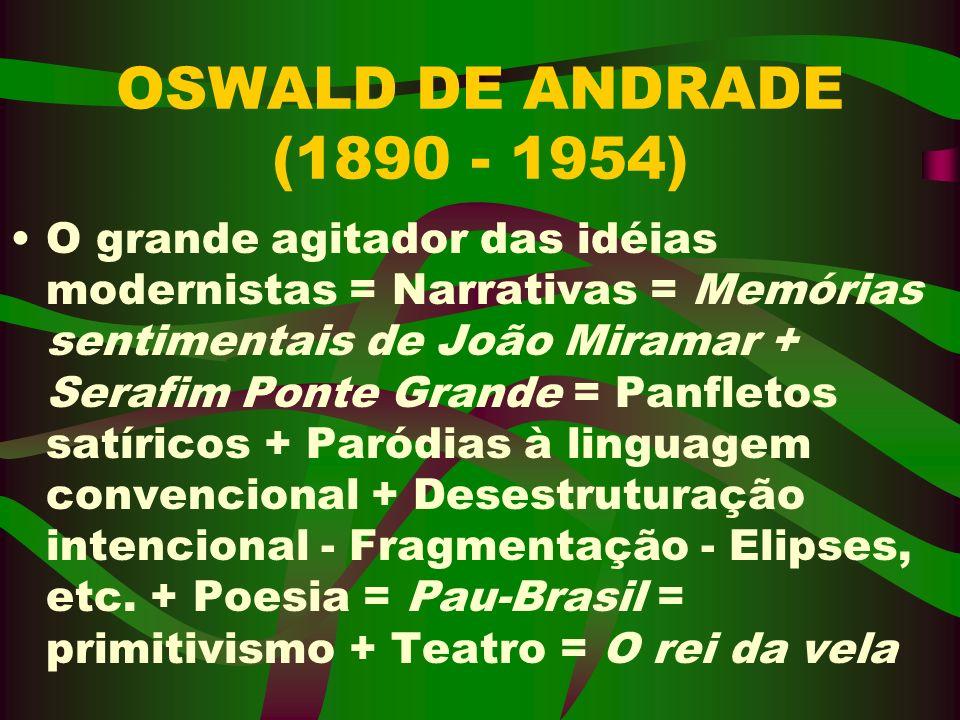 OSWALD DE ANDRADE (1890 - 1954) O grande agitador das idéias modernistas = Narrativas = Memórias sentimentais de João Miramar + Serafim Ponte Grande =