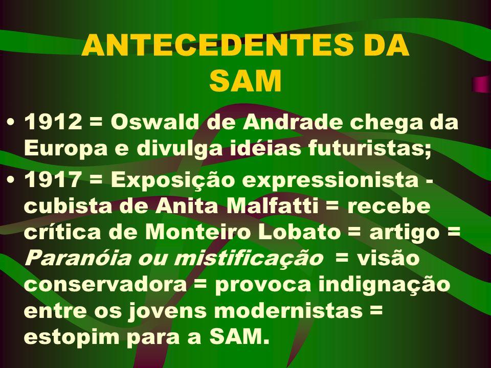 ANTECEDENTES DA SAM 1912 = Oswald de Andrade chega da Europa e divulga idéias futuristas; 1917 = Exposição expressionista - cubista de Anita Malfatti