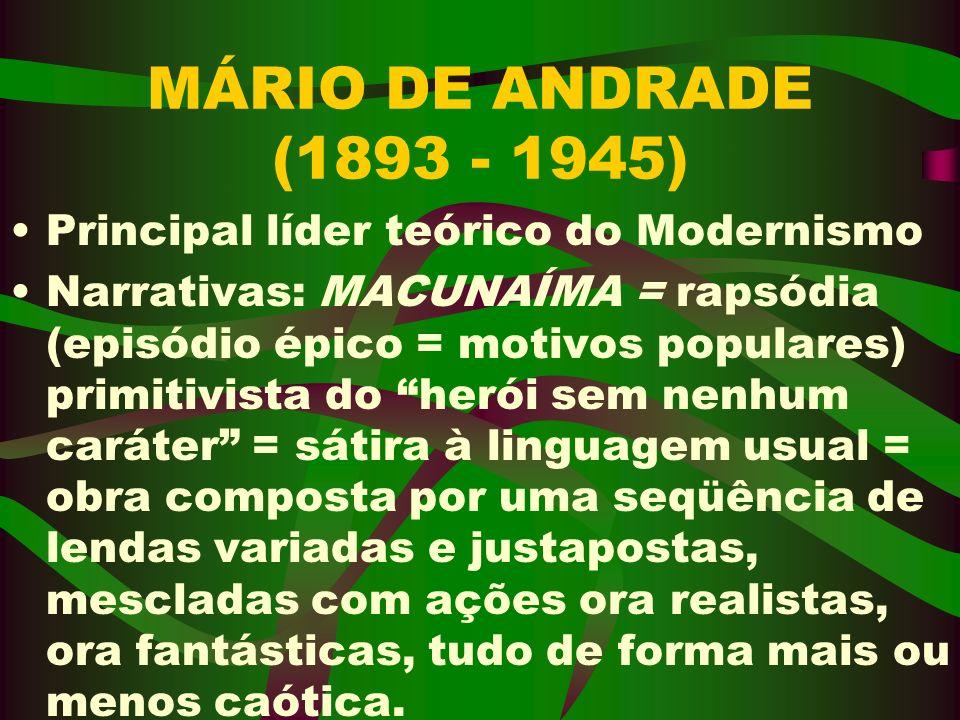 MÁRIO DE ANDRADE (1893 - 1945) Principal líder teórico do Modernismo Narrativas: MACUNAÍMA = rapsódia (episódio épico = motivos populares) primitivist