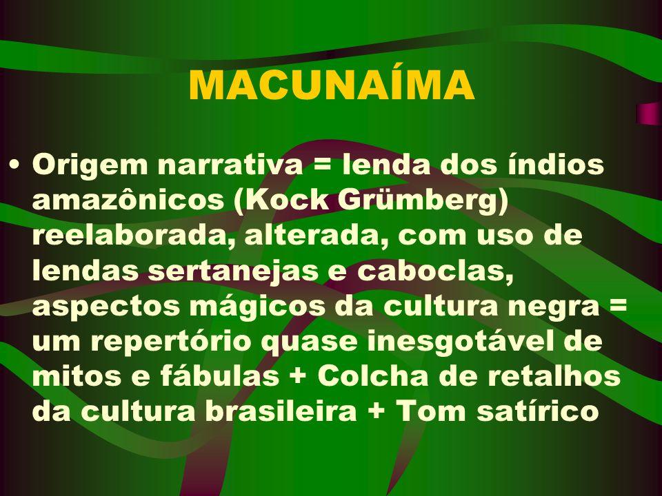 MACUNAÍMA Origem narrativa = lenda dos índios amazônicos (Kock Grümberg) reelaborada, alterada, com uso de lendas sertanejas e caboclas, aspectos mági
