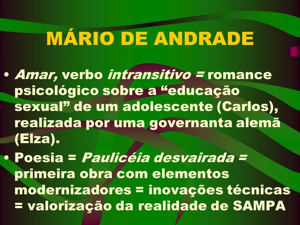 MÁRIO DE ANDRADE Amar, verbo intransitivo = romance psicológico sobre a educação sexual de um adolescente (Carlos), realizada por uma governanta alemã