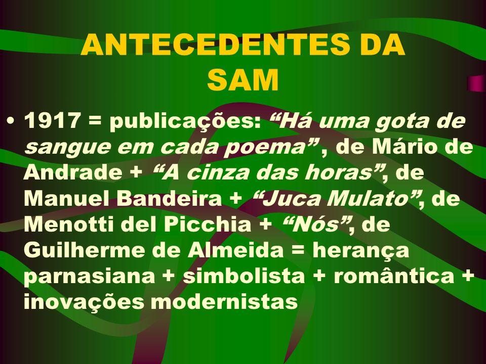 ANTECEDENTES DA SAM 1917 = publicações: Há uma gota de sangue em cada poema, de Mário de Andrade + A cinza das horas, de Manuel Bandeira + Juca Mulato
