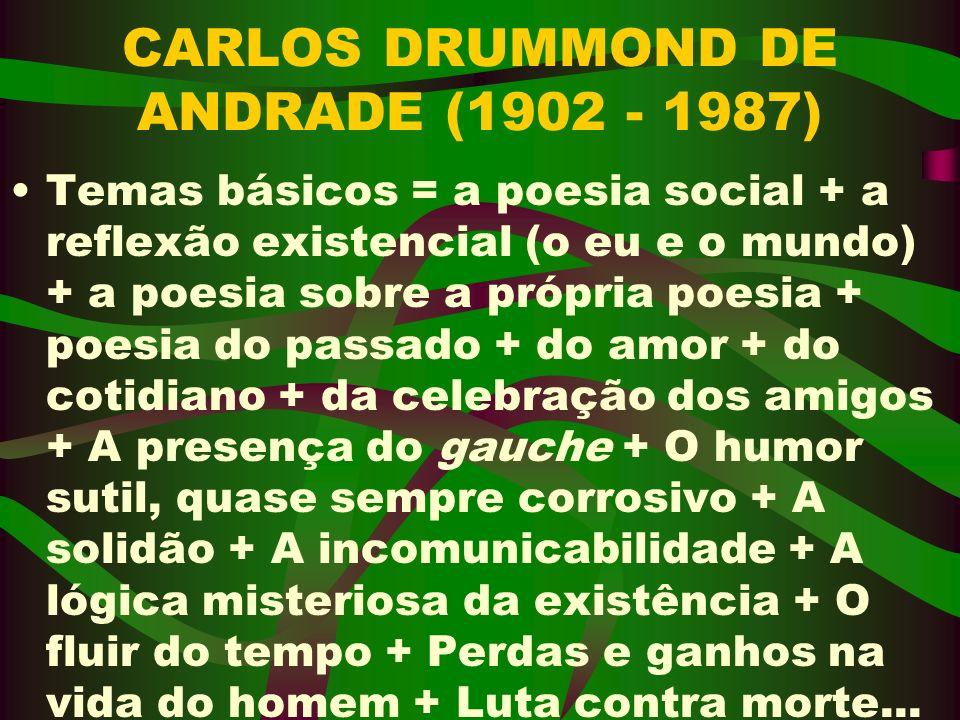 CARLOS DRUMMOND DE ANDRADE (1902 - 1987) Temas básicos = a poesia social + a reflexão existencial (o eu e o mundo) + a poesia sobre a própria poesia +