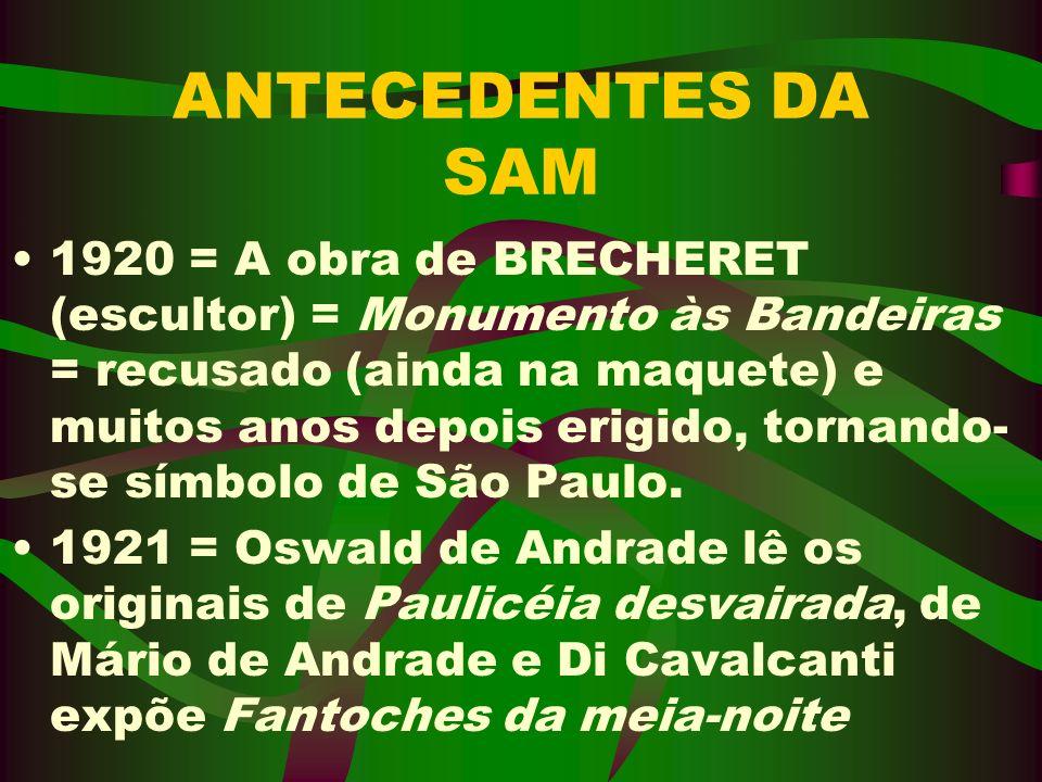 A SAM Período: Noites dos dias 13, 15 e 17 de fevereiro de 1922, no Teatro Municipal de SAMPA.