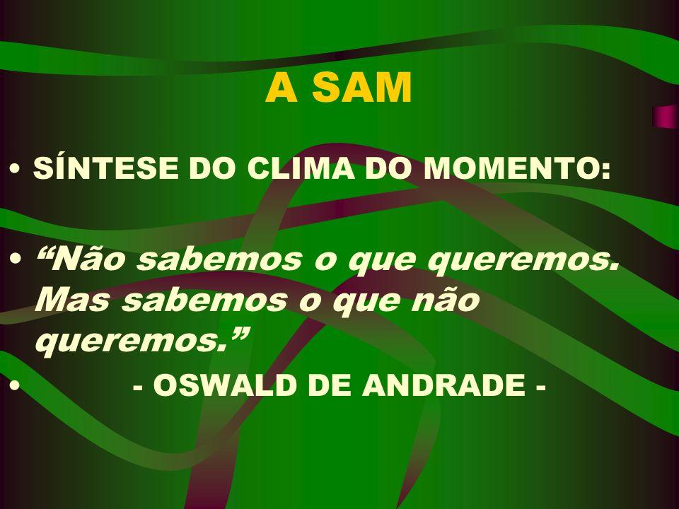 A SAM SÍNTESE DO CLIMA DO MOMENTO: Não sabemos o que queremos. Mas sabemos o que não queremos. - OSWALD DE ANDRADE -
