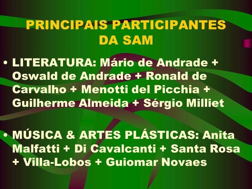 PRINCIPAIS PARTICIPANTES DA SAM LITERATURA: Mário de Andrade + Oswald de Andrade + Ronald de Carvalho + Menotti del Picchia + Guilherme Almeida + Sérg