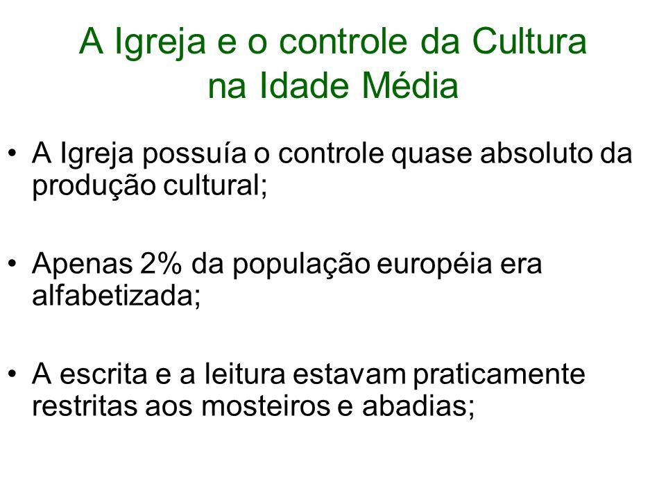 A Igreja e o controle da Cultura na Idade Média A Igreja possuía o controle quase absoluto da produção cultural; Apenas 2% da população européia era alfabetizada; A escrita e a leitura estavam praticamente restritas aos mosteiros e abadias;