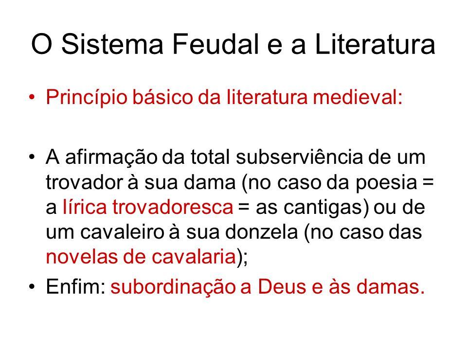 O Sistema Feudal e a Literatura Princípio básico da literatura medieval: A afirmação da total subserviência de um trovador à sua dama (no caso da poes