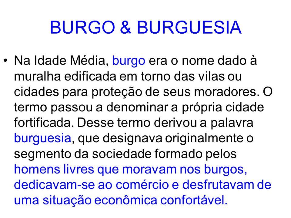 BURGO & BURGUESIA Na Idade Média, burgo era o nome dado à muralha edificada em torno das vilas ou cidades para proteção de seus moradores. O termo pas