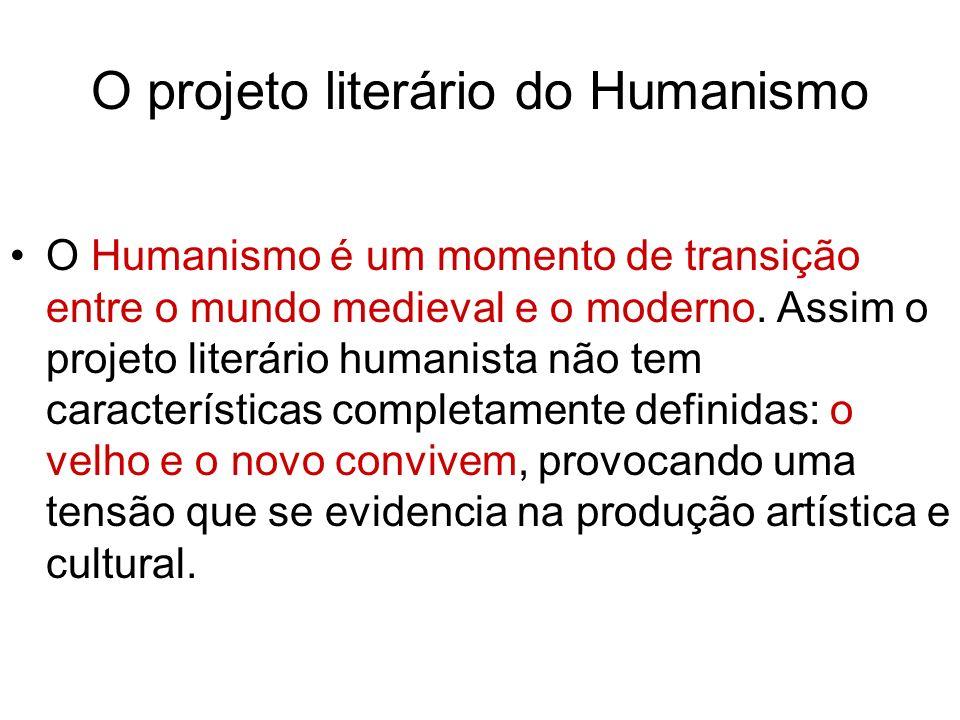 O projeto literário do Humanismo O Humanismo é um momento de transição entre o mundo medieval e o moderno. Assim o projeto literário humanista não tem