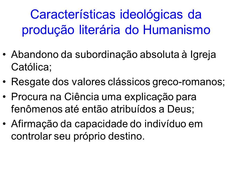 Características ideológicas da produção literária do Humanismo Abandono da subordinação absoluta à Igreja Católica; Resgate dos valores clássicos grec